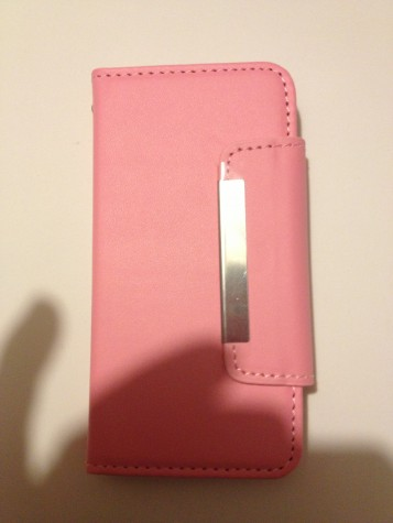Iphone5 Pink book-style my jacet wallet protective cover