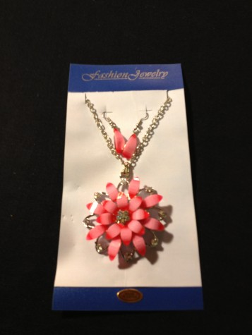 Diamond Like Two Tone Pink Floral Designe Necklace Earring Set