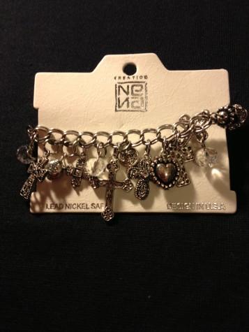 Cross Charm Cluster Bracelet Antique Style .