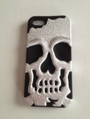 Iphone5 siver plating matte wrinkle / black skullcap